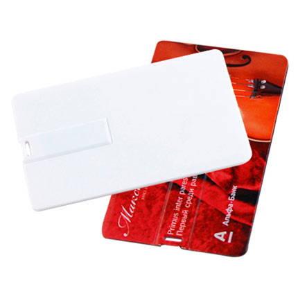 1970079,:USB-Flash накопитель (флешка) Canvas в виде кредитной карты, возможно полноцветное нанесение с двух сторон, 32 Gb, белый