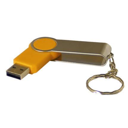 1970103,:USB-Flash накопитель - брелок (флешка) Swing, 32 Gb, в металлическом корпусе с пластиковыми вставками, желтый