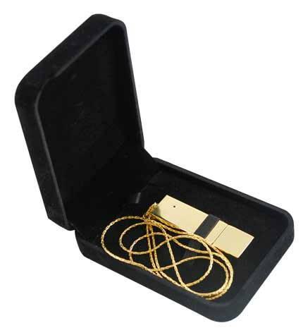 1970002,:USB-Flash накопитель (флешка) BRICK, 32 Gb, металлический корпус, зеркальный хром, золотистый глянец, длинная цепочка